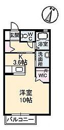 JR福塩線 道上駅 徒歩10分の賃貸アパート 2階ワンルームの間取り