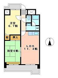 愛知県名古屋市中区平和1丁目の賃貸マンションの間取り