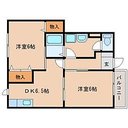 奈良県奈良市宝来4丁目の賃貸アパートの間取り