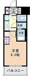 EC新大阪オルティ 9階1Kの間取り