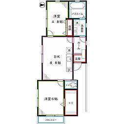 JR中央本線 国分寺駅 徒歩8分の賃貸アパート 2階2DKの間取り