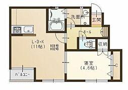 JR宇野線 妹尾駅 徒歩11分の賃貸アパート 1階1LDKの間取り