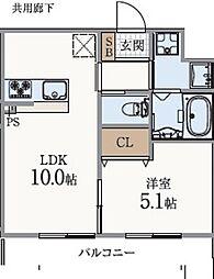 JR山陽本線 垂水駅 徒歩7分の賃貸アパート 3階1LDKの間取り