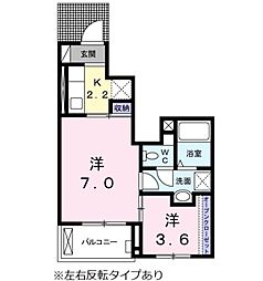 愛知県岡崎市井内町字下堤の賃貸アパートの間取り