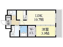 ハニーハウス 3階1LDKの間取り