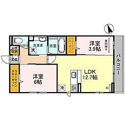 (仮)D-room堺市北区百舌鳥西之町 2階2LDKの間取り