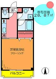 東京メトロ千代田線 綾瀬駅 徒歩15分の賃貸マンション 2階1Kの間取り