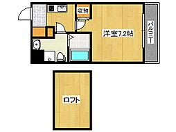 JR東海道・山陽本線 六甲道駅 徒歩8分の賃貸マンション 6階1Kの間取り