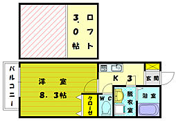 福岡県古賀市千鳥6丁目の賃貸アパートの間取り
