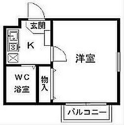 ジュネパレス茅ヶ崎第05[102号室]の間取り