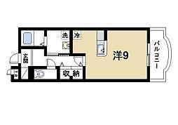 近鉄生駒線 南生駒駅 徒歩3分の賃貸マンション 1階ワンルームの間取り