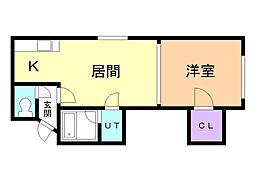 シャネル栄町弐番館 1階1LDKの間取り