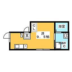カーサピアッツア三ノ輪 4階ワンルームの間取り