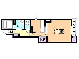 デフィI 1階ワンルームの間取り