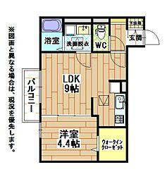 福岡県北九州市八幡西区星ケ丘3丁目の賃貸アパートの間取り