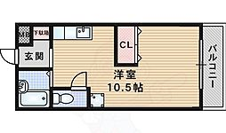 JR東海道・山陽本線 千里丘駅 徒歩15分の賃貸マンション 1階ワンルームの間取り