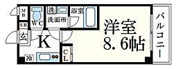 阪神本線 青木駅 徒歩5分の賃貸マンション 3階1Kの間取り