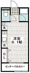 JR京浜東北・根岸線 港南台駅 徒歩10分の賃貸アパート 1階ワンルームの間取り