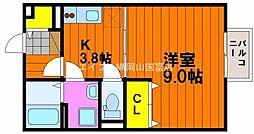 岡山県岡山市中区土田丁目なしの賃貸アパートの間取り