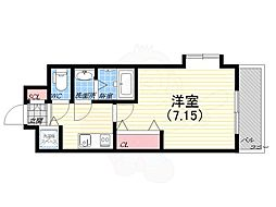 阪神本線 青木駅 徒歩1分の賃貸マンション 5階1Kの間取り