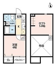 JR東北本線 仙台駅 徒歩13分の賃貸アパート 1階1Kの間取り