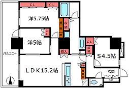 浅草タワー 13階2SLDKの間取り