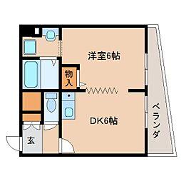 JR関西本線 三郷駅 徒歩1分の賃貸マンション 6階1DKの間取り