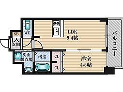 プレサンス新大阪ジェイズ 8階1LDKの間取り