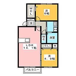グレースタウン江南 H 2階2LDKの間取り