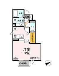 JR東北本線 福島駅 バス5分 東浜町南下車 徒歩2分の賃貸アパート 2階ワンルームの間取り
