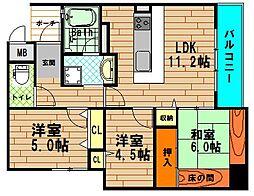 アーデンタワー新町[8階]の間取り