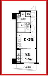 ザ・レジデンス三ノ輪II 2階1DKの間取り