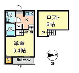 愛知県名古屋市中村区賑町の賃貸アパートの間取り