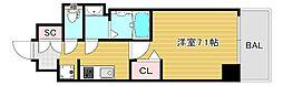 プレサンス大阪ドームシティクロスティ 12階1Kの間取り