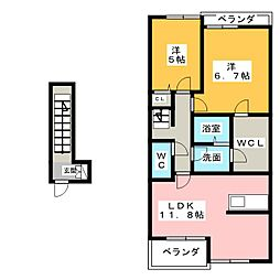 Sun Nakajima[2階]の間取り