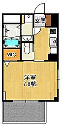 (仮称)K様 賃貸マンション 2階1Kの間取り