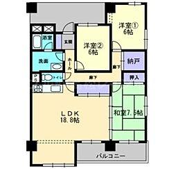 香川県高松市番町4丁目の賃貸マンションの間取り