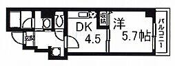 ワイズコート 5階1DKの間取り