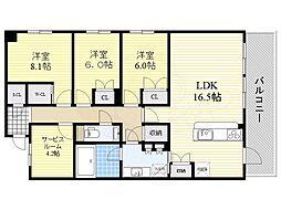 阪急千里線 南千里駅 徒歩17分の賃貸マンション 2階3SLDKの間取り
