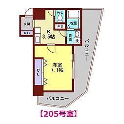ヴァンデュール金沢駅前 2階1Kの間取り