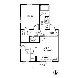 埼玉県深谷市国済寺の賃貸アパートの間取り