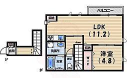 阪急甲陽線 苦楽園口駅 徒歩8分の賃貸アパート 2階1LDKの間取り