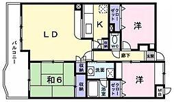 福岡県久留米市御井町の賃貸マンションの間取り