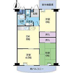 南茨木ハイタウン美沢A棟[6階]の間取り