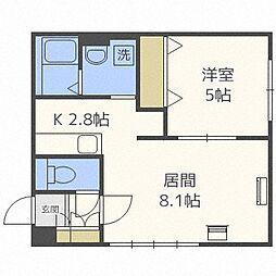 札幌市営東西線 西11丁目駅 徒歩12分の賃貸マンション 4階1LDKの間取り