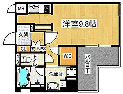 「リーガル京都五条大宮」 3階1Kの間取り