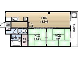 シャトーシャンベル[4階]の間取り