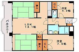 福岡県春日市下白水南6丁目の賃貸マンションの間取り