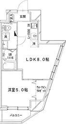 JR横浜線 相模原駅 徒歩10分の賃貸マンション 5階1LDKの間取り