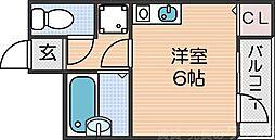 南海線 新今宮駅 徒歩3分の賃貸マンション 5階ワンルームの間取り